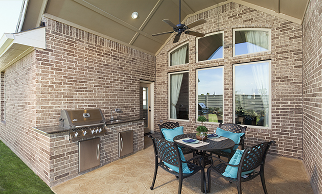 Covered Patio with Outdoor Kitchen - The Miami III (5961 Plan)