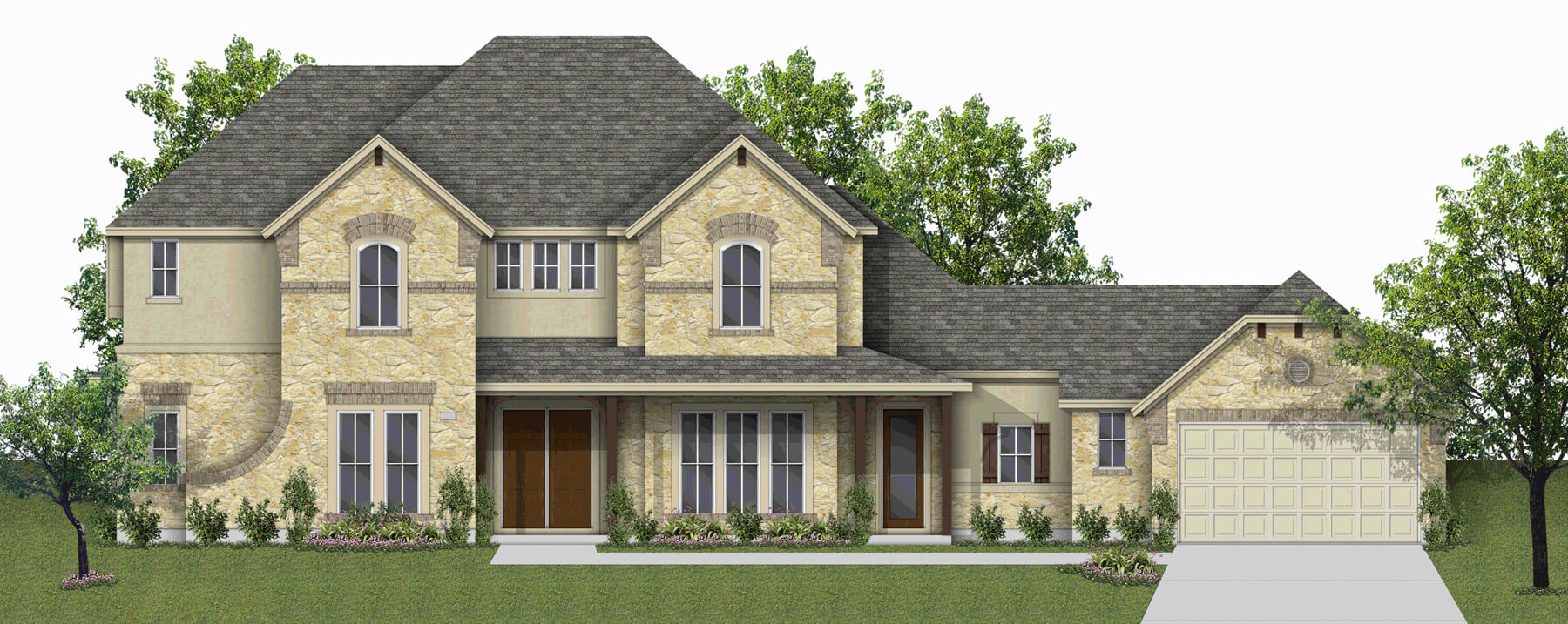Default elevation for 4097 for Build on your lot houston floor plans