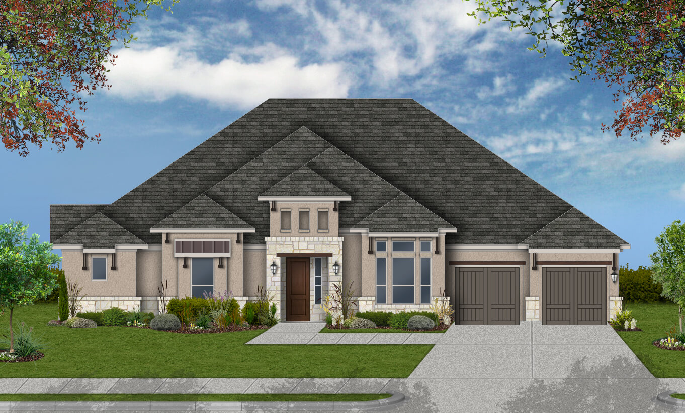 Default elevation for 3351 for Build on your lot houston floor plans